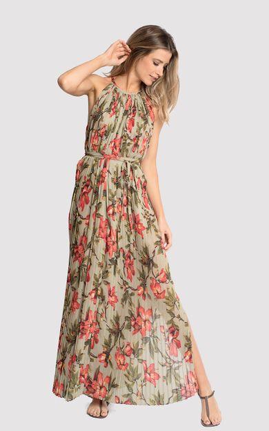 vestido-longo-plissado-classic-flora-tamanho-M-Frente
