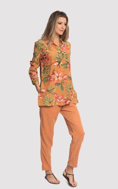 camisa-classico-seda-estampado-flora-ocre-tamanho-P-Frente
