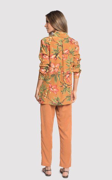 camisa-classico-seda-estampado-flora-ocre-tamanho-P-Costas