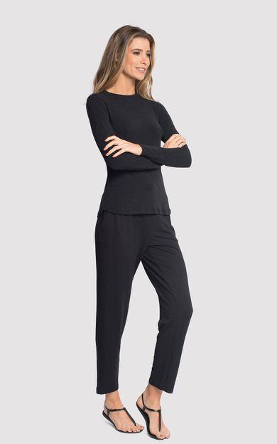 blusa-manga-gola-redonda-preto-tamanho-M-Frente