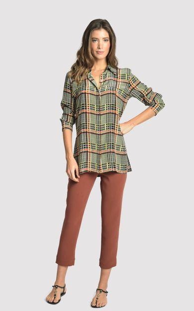 camisa-classica-seda-estampada-xadrez-tamanho-P-Frente
