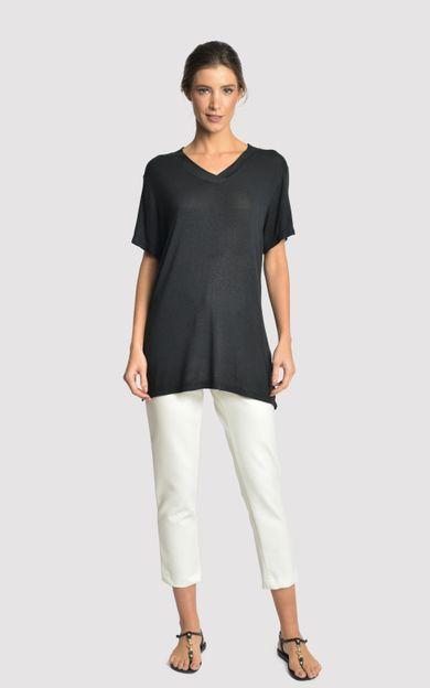 blusa-malha-fenda-lateral-preto-tamanho-PP-Frente