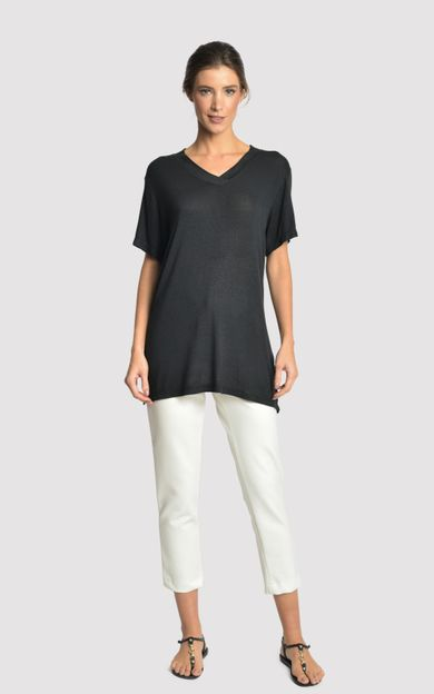 blusa-malha-fenda-lateral-preto-tamanho-P-Frente