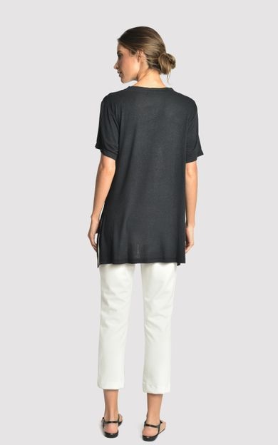 blusa-malha-fenda-lateral-preto-tamanho-P-Costas