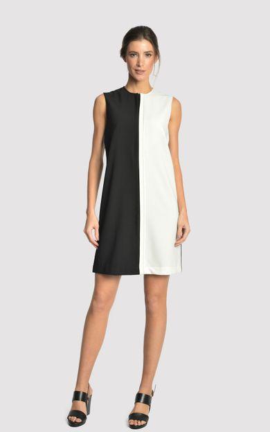 vestido-crepe-bicolor-preto-offwhite-tamanho-P-Frente
