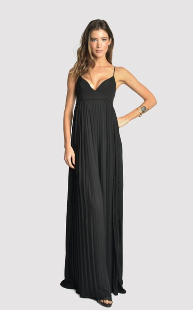 vestido-longo-plissado-triangulo-preto-tamanho-P-Frente