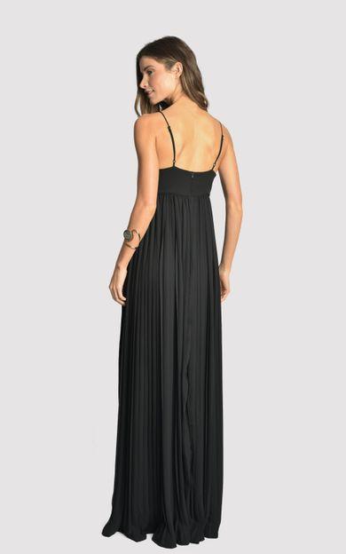 vestido-longo-plissado-triangulo-preto-tamanho-P-Costas