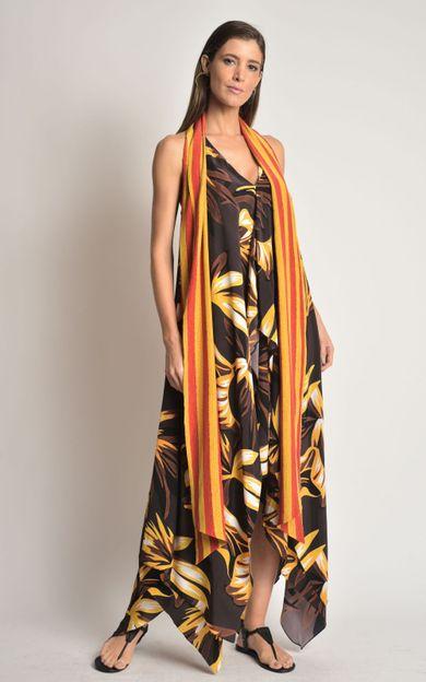 vestido-seda-faixa-folhagem-marrom-tamanho-M-Frente
