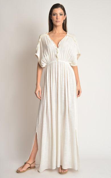 vestido-detalhe-franjas-off-white-tamanho-PP-Frente