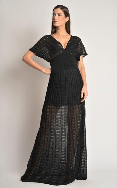 vestido-longo-tricot-preto-tamanho-P-Frente