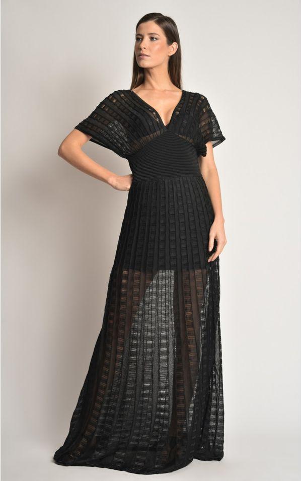 vestido-longo-tricot-preto-tamanho-M-Frente