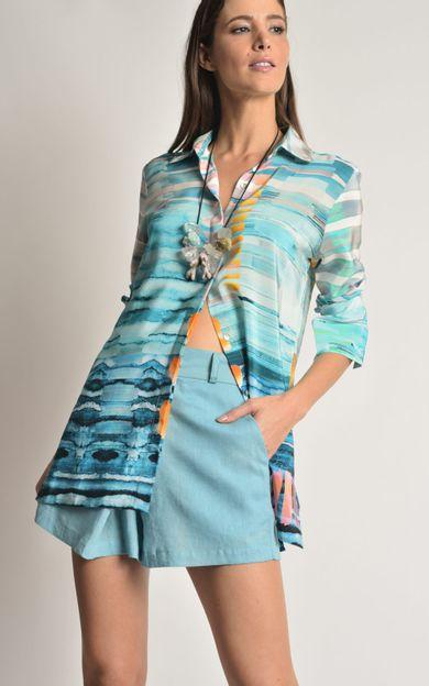 camisa-classica-seda-estampada-bonito-tamanho-PP-Costas