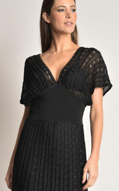 vestido-longo-tricot-preto-tamanho-P-Costas