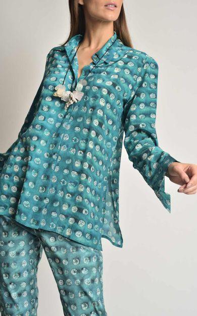 camisa-classica-seda-estampada-aqua-tamanho-G-Frente