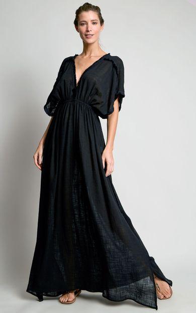 vestido-detalhe-franjas-preto-tamanho-PP-Frente