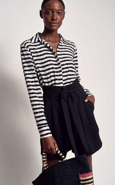 short-cintura-alta-faixa-preto-tamanho-38-Frente