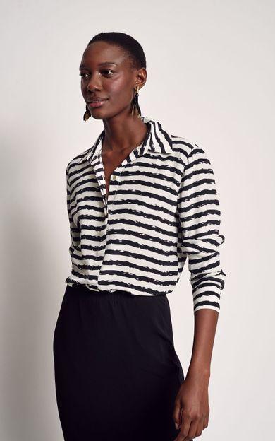 camisa-classica-seda-estampada-listra-tear-tamanho-M-Frente