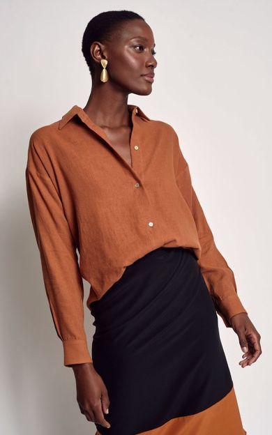 camisa-linho-basic-cobre-tamanho-PP-Frente