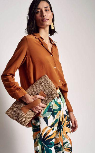 camisa-classica-lisa-cobre-tamanho-P-Frente