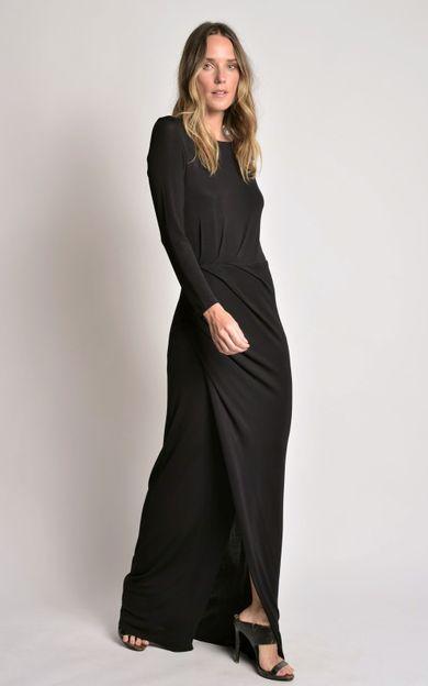vestido-longo-franzido-preto-tamanho-P-Frente