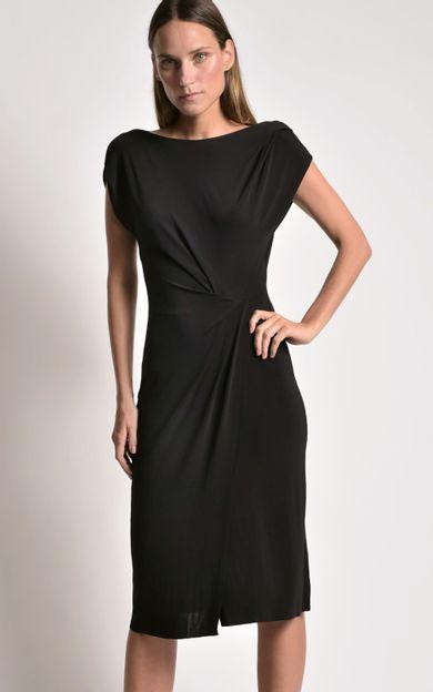 vestido-midi-franzido-preto-tamanho-PP-Frente