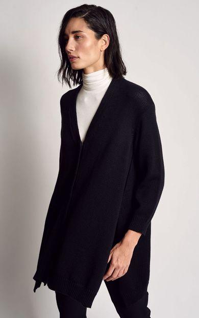 cardigan-amplo-tricot-preto-tamanho-M-Frente