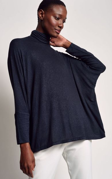 blusa-ampla-gola-alta-preto-tamanho-PP-Frente