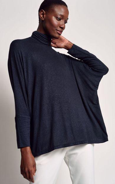 blusa-ampla-gola-alta-preto-tamanho-P-Frente