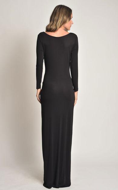 vestido-longo-franzido-preto-tamanho-PP-Costas