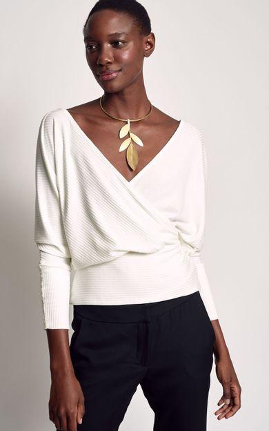blusa-canelada-transpasse-off-white-tamanho-M-Frente