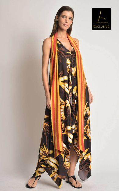 vestido-seda-faixa-folhagem-marrom-tamanho-P-Frente
