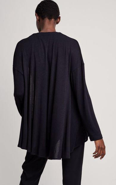 cardigan-malha-tricot-preto-tamanho-P-Costas