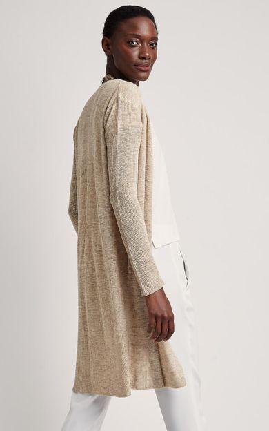 cardigan-tricot-areia-tamanho-M-Frente
