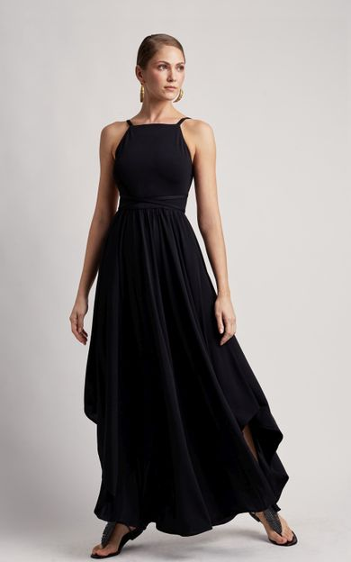 vestido-longo-amarracao-premium-preto-tamanho-P-Frente