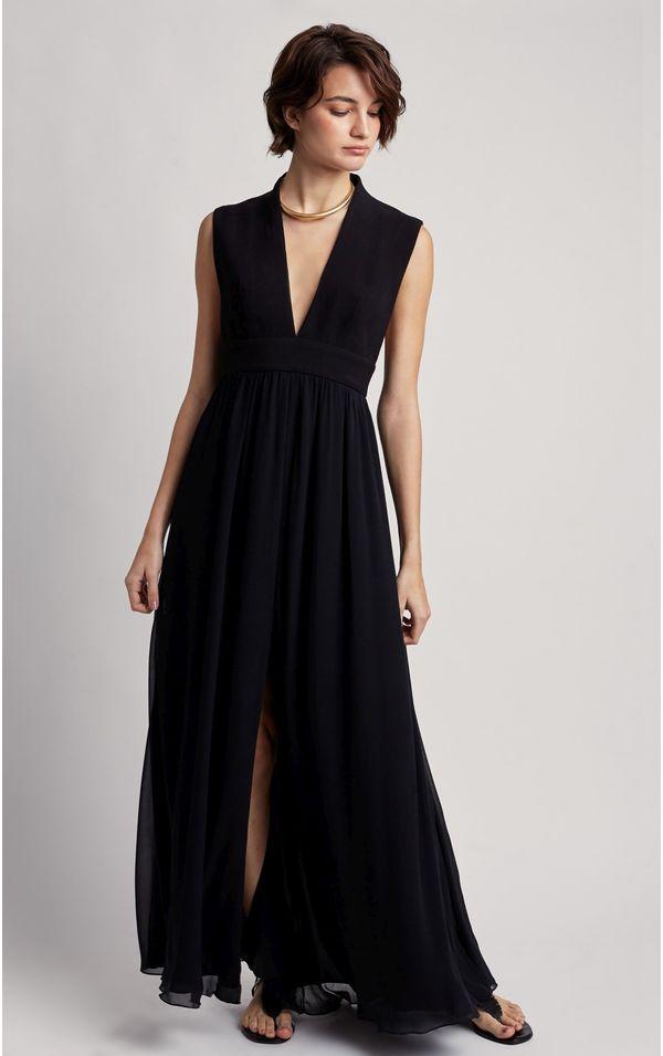 vestido-longo-estruturado-premium-preto-tamanho-PP-Frente