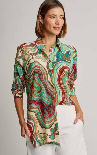 camisa-classica-seda-estampada-premium-mineral-tamanho-P-Frente