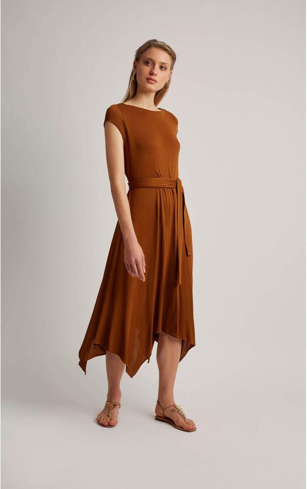vestido-malha-pontas-cobre-tamanho-P-Frente