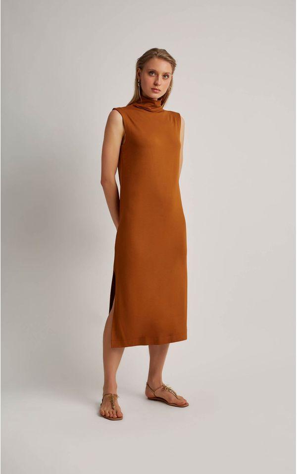 vestido-moletinho-gola-alta-cobre-tamanho-PP-Frente