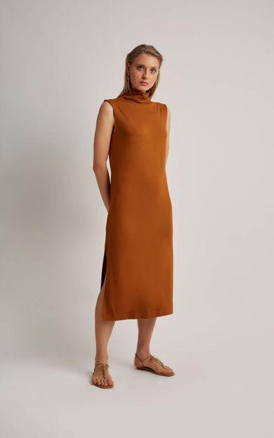 vestido-moletinho-gola-alta-cobre-tamanho-P-Frente