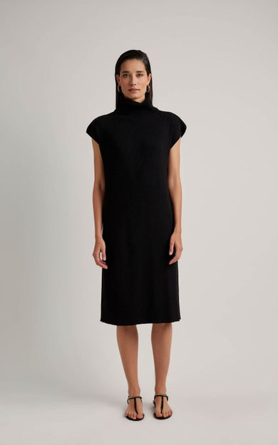 vestido-gola-tricot-preto-tamanho-P-Frente